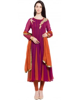 Ethnic Wear Readymade Magenta Faux Georgette Salwar Suit  - 21453
