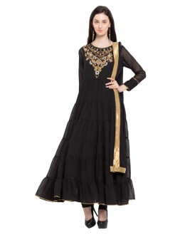 Wedding Wear Readymade Black Faux Georgette Salwar Suit  - 21454