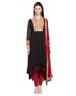 Ethnic Wear Readymade Black Faux Georgette Salwar Suit  - 21458