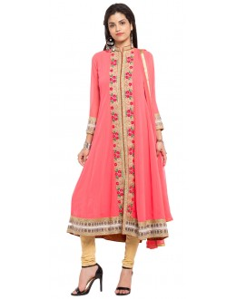 Wedding Wear Readymade Peach Faux Georgette Salwar Suit  - 21460