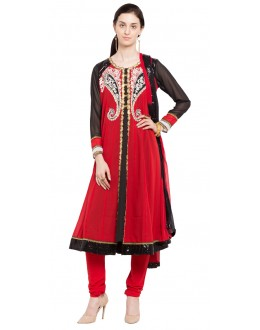 Ethnic Wear Readymade Red Faux Georgette Salwar Suit  - 21463