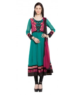 Festival Wear Readymade Turquoise Blue Faux Georgette Salwar Suit  - 21465
