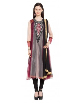 Wedding Wear Readymade Maroon Pink Net  Salwar Suit  - 21468