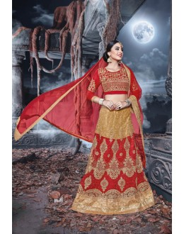 Party  Wear Red & Cream Net  Lehenga - 21525