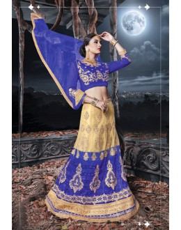 Traditional  Wear Blue & Cream Net  Lehenga - 21526