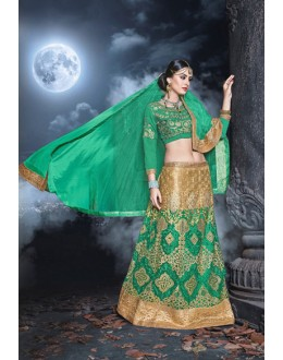 Wedding Wear Green & Cream Net  Lehenga - 21527
