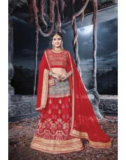 Festival Wear Red & Grey Net  Lehenga - 21528