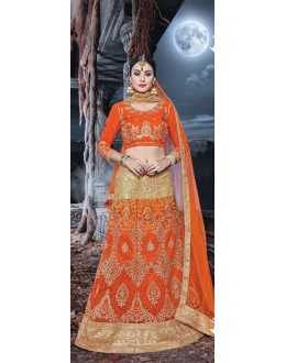 Party Wear Orange & Cream Net  Lehenga - 21529