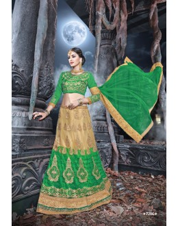 Traditional Wear Green & Cream Net  Lehenga - 21530