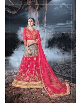 Wedding  Wear Pink & Grey Net  Lehenga - 21531