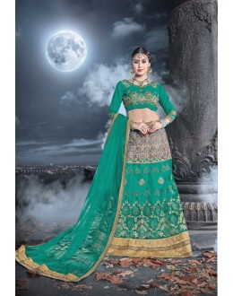 Party Wear Teal Green Net  Lehenga - 21533