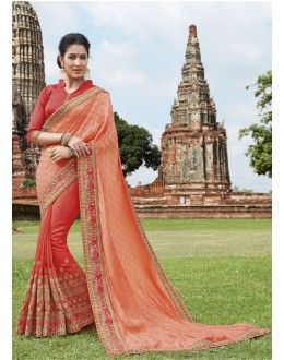 Ethnic Wear Peach & Orange Jaquard & Chiffon Saree  - 21535