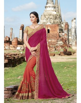Party Wear Pink & Orange Crepe & Chiffon Saree  - 21536