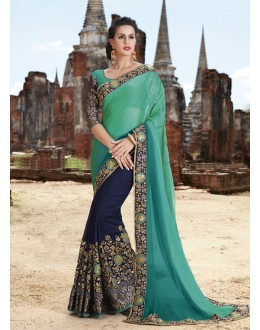 Traditional Wear Green & Dark Blue Crepe Chiffon Saree  - 21538