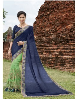 Wedding Wear Dark Blue & Green Crepe Chiffon Saree  - 21541