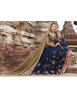 Party Wear Gold & Dark Blue Crepe Chiffon Saree  - 21543