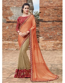 Ethnic Wear Orange & Beige Chiffon Saree  - 21544