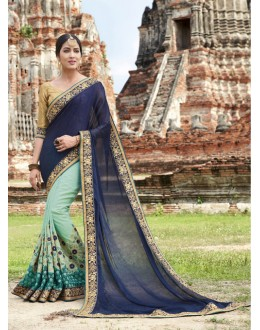 Tradtional Wear Dark Blue & Blue Crepe Silk Saree  - 21545