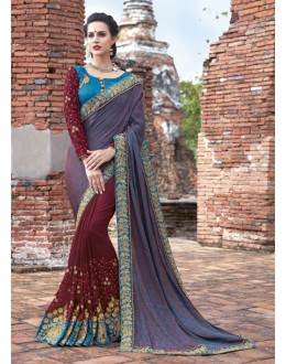 Party Wear Blue & Maroon Crepe Chiffon Saree  - 21548