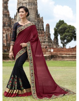 Traditional Wear Maroon & Black Crepe Chiffon Saree  - 21551