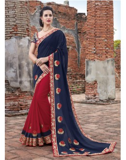 Festival Wear Dark Blue & Red Jaquard & Chiffon Saree  - 21552