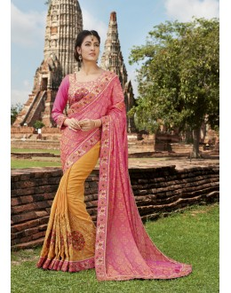 Wedding Wear Pink & Yellow Crepe Silk Saree  - 21553