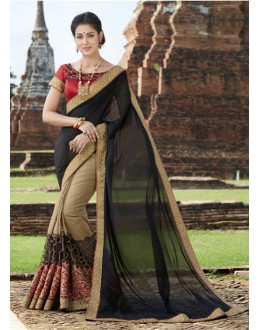 Party  Wear Black & Beige Crepe Silk  Saree  - 21555