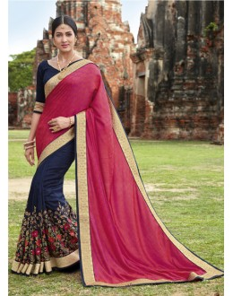 Party Wear Pink & Dark Blue Jaquard Saree  - 21557
