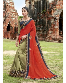 Festival Wear Orange & Greenish Crepe Silk Saree  - 21559