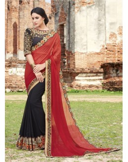 Casual  Wear Red & Black Crepe Chiffon Saree  - 21562