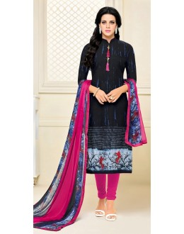 Party Wear Black & Blue Cotton Salwar Suit - 21650