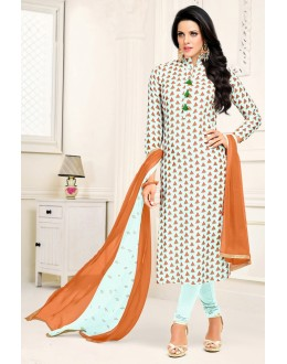 Traditional Wear Blue & Orange Cotton Satin Salwar Suit - 21653
