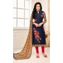 Party Wear Navy Blue Chanderi Salwar Suit - 21654