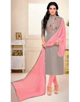 Ethnic Wear Grey Chanderi Salwar Suit - 21655