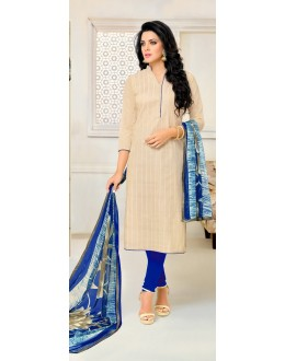 Casual Wear Off White Chanderi Salwar Suit - 21656