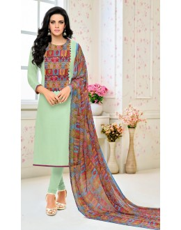 Traditional Wear Green Chanderi Salwar Suit - 21658