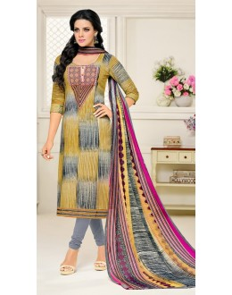 Festival Wear Grey Cotton Salwar Suit - 21661