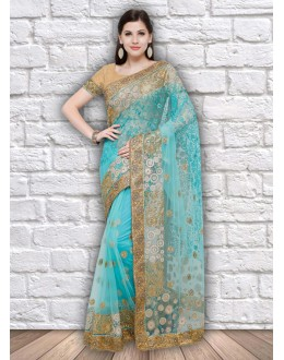 Party Wear Firoji Colour Net Saree  - 21797