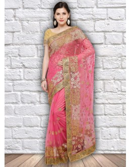 Ethnic Wear Pink Colour Net Saree  - 21799