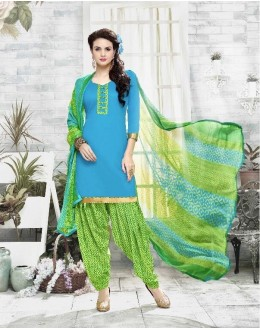 Ethnic Wear Blue Cotton Satin Salwar Suit - 21830