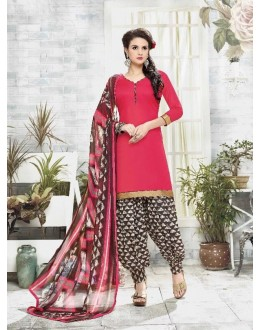 Traditional Wear Pink Cotton Satin Salwar Suit - 21832