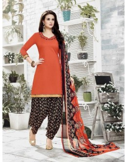 Wedding Wear Orange Cotton Satin Salwar Suit - 21835