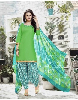 Ethnic Wear Green Cotton Satin Salwar Suit - 21838