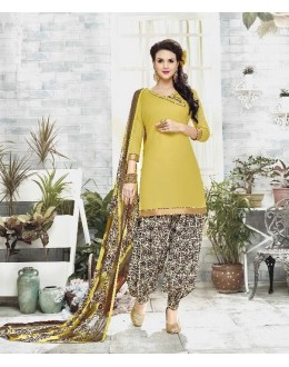 Party Wear Yellow Cotton Satin Salwar Suit - 21842