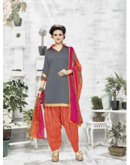 Ethnic Wear Grey Cotton Satin Salwar Suit - 21843