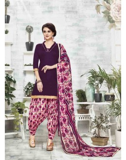 Wedding Wear Puprle Cotton Satin Salwar Suit - 21844