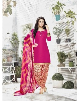 Casual Wear Pink Cotton Satin Salwar Suit - 21845