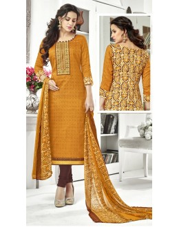 Ethnic Wear Yellow Cotton Satin Salwar Suit - 21847