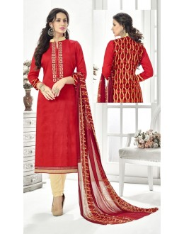 Wedding  Wear Red Cotton Satin Salwar Suit - 21850