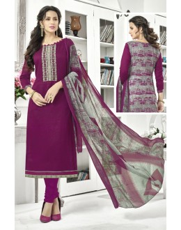 Ethnic Wear Purple Cotton Satin Salwar Suit - 21852